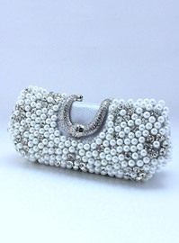 Beautiful Silver PU with Rhinestones and Freshwater Pearls Evening Handbag/ Clutch