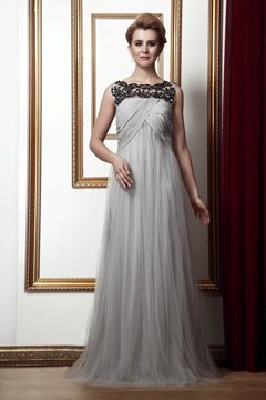 Gorgeous A-Line Floor-Length Bateau Neckline Prom/Evening Dress