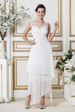 Amazing A-Line V-neck Asymmetry Zipper-Up Beach Wedding Dress