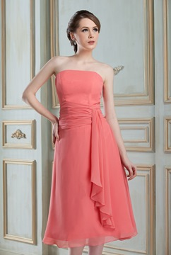 Amazing Draped A-Line Strapless Tea-length Hot Sell Bridesmaid Dress