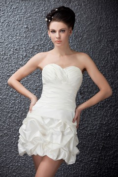 Pretty Short/Mini Sweetheart Wedding Dress With Pleats