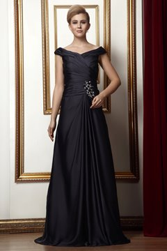 Fantastic Pleats Beaded A-line V-Neck Floor-Length Alina's Mother of the Bride Dress