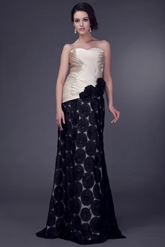Attractive Lace/Flowers/Pleats Sheath/Column Sweetheart Neckline Floor-length Veleria's Mother of the Bride Dress