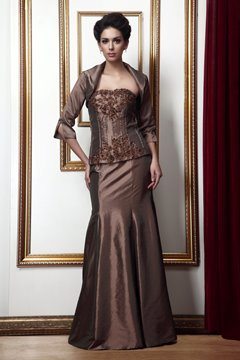 Charming Mermaid/Trumpet Strapless Floor-Length Mother of the Bride Dress With Jacket/Shawl