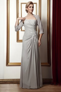 Gorgeous Column One-Shoulder Floor-Length Mother of the Bride Dress With Jacket/Shawl