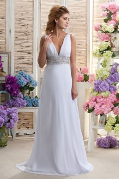 Fashionable Sequined A-line V-Neck Floor-length Wedding Dress