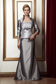 Sexy Beaded Pleats Trumpet/Mermaid Strapless Mother of the Bride Dress With Jacket/Shawl
