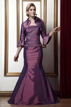 Sexy Pleats Sequins Mermaid/Trumpet Strapless Floor-Length Mother of the Bride Dress With Jacket/Shawl