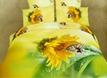 Warm-toned Bright Yellow Sunflower and Butterfly Cotton 4 Piece 3D Bedding Sets