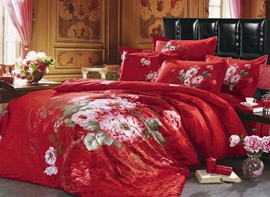 Cotton Lush Flowers Bright Red 4 Piece Cotton Bedding Sets