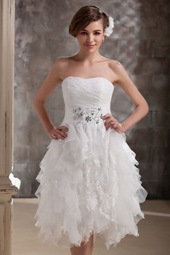 Fabulous Short/Mini-length Sweetheart Ruffles Wedding Dresses