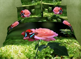 Visual Grass Pink Flower and Blue Butterfly 4 Piece Cotton 3D Bedding Sets