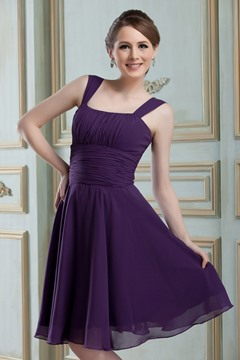 Classic A-Line Square Neckline Knee-Length Bridesmaid Dress