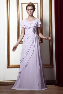 Attractive Tiered Crystal A-line V-Neck Floor-Length Alina's Mother of the Bride Dress