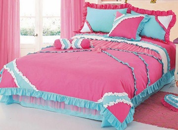 Sweet Pink Cotton 4 Piece Comforter Bedding Sets with Lace