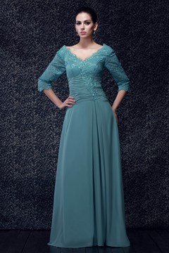Fabulous Lace A-line V-Neck Floor-Length Taline's Mother of the Bride Dress