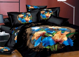 Exquisite 4 Piece Floral in Blue and Golden Printing Cotton Bedding Sets