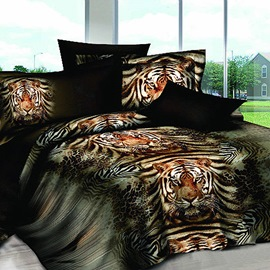 Lifelike Tigers Print Whole Dun Cotton 4-Piece Comforter Bedding Sets