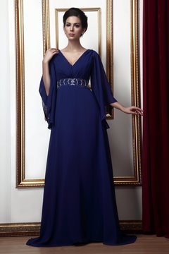 Gorgeous A-line V-Neck 3/4-Length Sleeves Taline's Mother of the Bride Dress