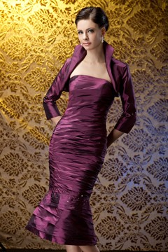 Charming Tiered Trumpet/Mermaid Strapless Tea-length Polina's Mother of the Bride Dress With Jacket/Shawl
