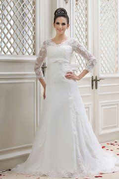 Elegant A-Line V-Neck Lace Long-Sleeves Taline's Wedding Dress