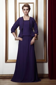 A-Line Square Neckline Floor-Length Alina's Mother of the Bride Dress With Jacket/Shawl