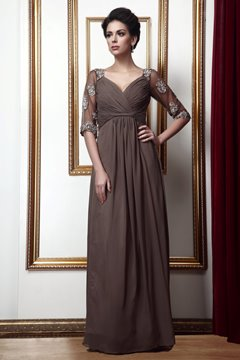 Gorgeous Empire V-Neck Floor-Length Taline's Mother of the Bride Dress