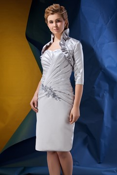 Gorgeous Beaded Pleats Sheath/Column Sweetheart Neckline Knee-length Alina's Mother of the Bride Dress With Jacket/Shawl