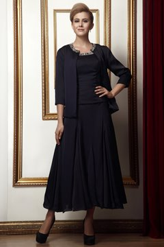 Elegant Beaded A-Line Scoop Sleeveless Tea-Length Alina's Mother of the Bride Dress With Jacket/Shawl