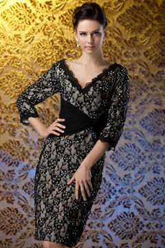 Charming Lace Sheath V-Neck 3/4-Sleeves Knee-Length Polina's Mother of the Bride Dress