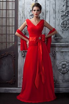 Gorgeous A-line Bowknot V-Neck Floor-Length Taline's Prom/Bridesmaid Dress With Jacket/Shawl