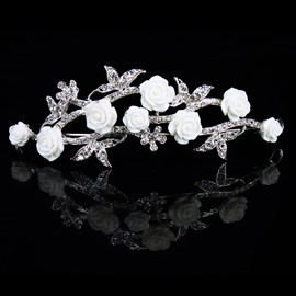 Graceful Alloy Floret Rhinestone Wedding Bridal Tiara