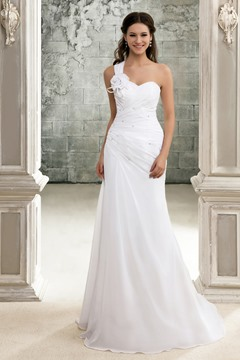 Elegant A-Line One-Shoulder Lace-up Chapel Train Pleats Beach Sandra's Wedding Dress