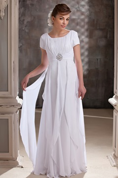 Elegant A-line Ruffles Scoop Short Sleeves Floor-Length Daria's Mother of the Bridal Dress