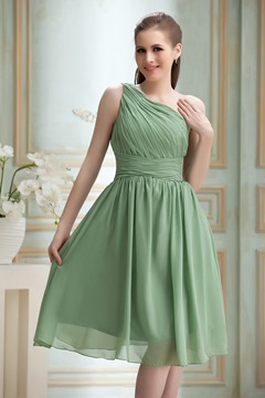 Incredible Ruched A-Line One-Shoulder Knee-Length Nadya's Bridesmaid Dress
