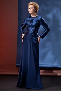 Modest and Dignified Column Floor-Length Long Sleeves Alina's Mother Evening Dress