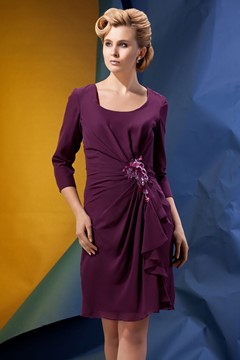 Delicated Ruffles Sheath Knee-Length 3/4-Sleeves Alina's Mother of the Bride Dress