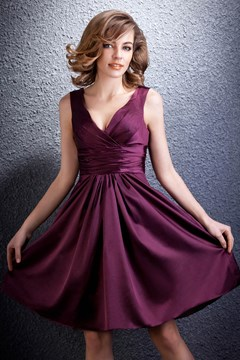 Concise A-line Short/Mini Length V-Neck Daria's Bridesmaid Dress