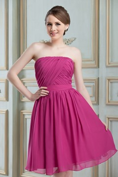 Pretty Ruched A-Line Strapless Knee-Length Bridesmaid Dress