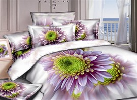 Graceful White 4 Piece Bedding Sets with Purple Flowers