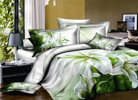 Fresh Perfume lily 4 Piece Printed Bedding Sets