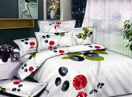 Wihite 4 Piece Printed Bedding Sets with Fruit and Greenery