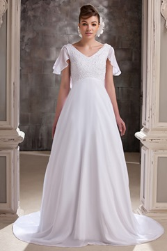 Pretty A-line V-neck Short-Sleeves Chapel Plus Size Wedding Dress