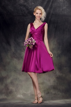 Elegant Pleats A-Line V-Neck Sleeveless Knee-Length Nastye's Bridesmaid Dress