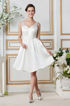 Gorgeous Short/Mini-length V-neck Pockets & Beaded Wedding Dress