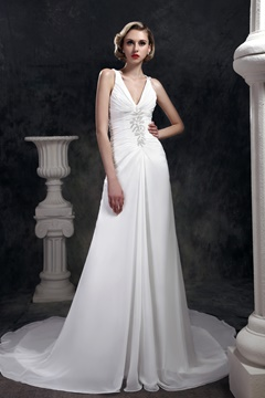 Faddish Sheath/Column V-neck Floor-Length Dasha's Wedding Dress