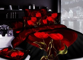 4 Piece Printed Bedding Sets with Seductive Red Tulips