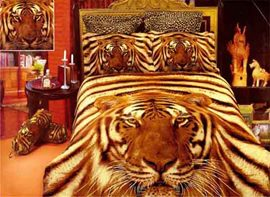 Top Grade 4-Piece Fierce Tiger Print Cotton Duvet Cover Bedding Sets