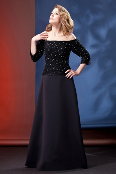 Hot Black Off-the-Shoulder Long Sleeves Daria's Mother of the Bride Dress