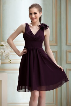er Ruched Flower A-Line V-Neck Knee-Length Nadya's Bridesmaid Dress